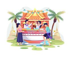 mensen vieren de traditionele nieuwjaarsdag van het songkran-festival thailand door water uit kommen te spatten