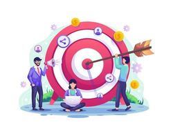 bedrijfsdoelconcept, verwijzing en partnerpartnerschapsprogramma met mensen zetten darts op het dartbord. doelwit met een pijl raakte de doelillustratie vector