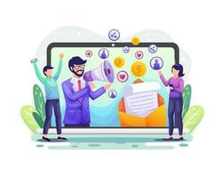 verwijzingsmarketing, affiliate marketing, een zakelijk partnerschap met een zakenmankarakter. marketingstrategie concept illustratie vector