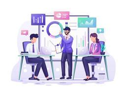 bedrijfsanalyseconcept, mensen in de vergadering werken met grafieken en grafische datavisualisatieillustratie vector
