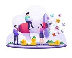marketingstrategieconcept, zakenman schreeuwt op de gigantische megafoon voor promotie. verwijzingsmarketing, affiliate marketing vector