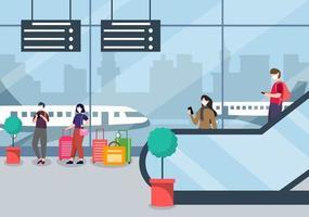 nieuwe normale, vectorillustratiemensen in maskers die zich op de binnenlandse terminal van de roltrapluchthaven, zakenreisconcept bevinden. plat ontwerp. vector