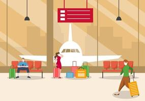 nieuwe normale, vectorillustratiemensen in maskers die in luchthaven binnenlandse terminal, zakenreisconcept zitten. plat ontwerp. vector