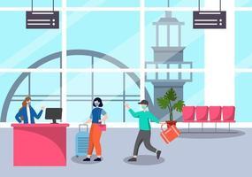 nieuwe normale, vectorillustratiemensen in maskers observeren sociale afstand op de binnenlandse luchthaven, inchecklijn en wachtrij reizen plat ontwerp vector