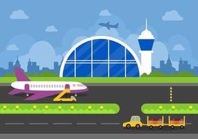 luchthaven terminal gebouw met infographic vliegtuigen opstijgen en verschillende soorten vervoer elementen sjablonen vector illustratie