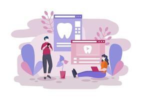 tandartspraktijk egale kleur illustratie. ziekenhuisinterieur met werkplek, apparatuur, instrumenten, consultatie, behandeling en diagnose