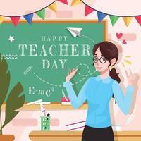 fijne lerarendag met schattige mevrouw. leraar vector