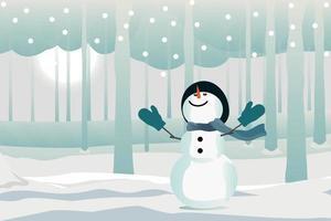 sneeuwpop genieten van sneeuwval in park vlakke afbeelding