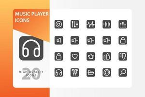 muziekspeler icon pack geïsoleerd op een witte achtergrond. voor uw websiteontwerp, logo, app, ui. vectorafbeeldingen illustratie en bewerkbare beroerte. eps 10.