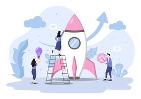 opstarten platte illustratie van bedrijfsontwikkelingsproces, innovatieproduct en creatief idee. vector