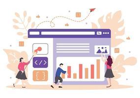 webontwikkeling platte illustraties voor websites, programmeren, marketingmateriaal, bedrijfspresentaties, onlinereclame en mobiele applicaties vector