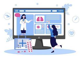 online gezondheidszorg en medisch concept van arts vectorillustratie, geneeskundeoverleg en behandeling via toepassing van smartphone of computer verbonden internetkliniek vector
