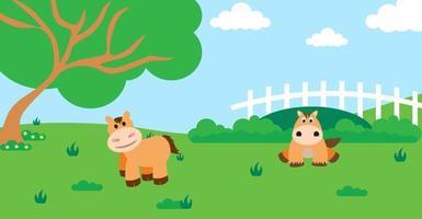 schattige cartoon vectorillustratie van paard en boerderij landelijke weide vector