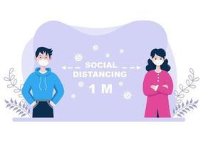 mensen die maskers dragen en een minimale sociale afstand van 1 meter aanhouden om coronavirusziekte te voorkomen, vector illustratie