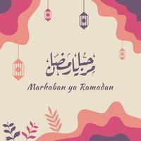 marhaban ya ramadhan banner met kalligrafie, moskee geschikt voor wenskaarten, flyer, poster, omslag, web, social media post of verhalen
