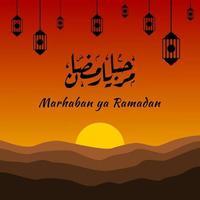 marhaban ya ramadhan banner met kalligrafie, moskee, lantaarn geschikt voor wenskaarten, flyer, poster, omslag, web, social media post of verhalen