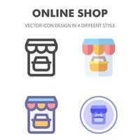 online winkel icon pack in verschillende stijlen vector