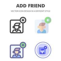 vriend icon pack in verschillende stijlen toevoegen vector