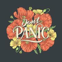 raak niet in paniek letters vector