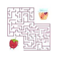 schattig cartoon aardbei doolhofspel. labyrint. grappig spel voor kinderen onderwijs. vector illustratie