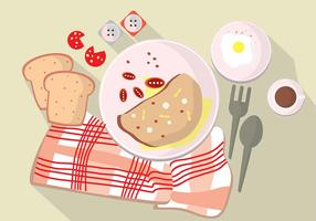 Illustratie Set Morning Omelet Time On Table vector