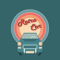 vector platte afbeelding van een retro auto op een regenboog achtergrond
