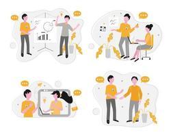team communicatie vector concept set