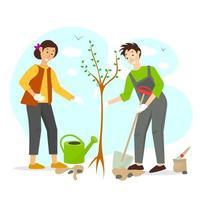 tuinieren concept vectorillustratie met man en vrouwen die een boom planten vector