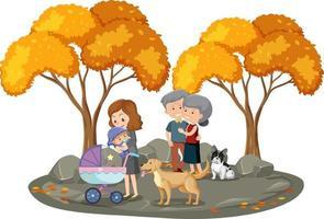 mensen in het park met veel geïsoleerde herfstbomen vector