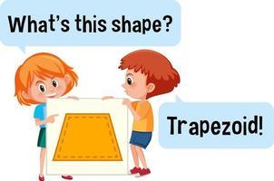 kinderen houden een trapezoïde vormbanner met wat is dit vormlettertype