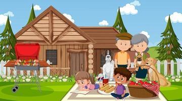 natuur openluchtscène met gelukkige familie die een picknick hebben vector