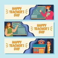 vrouwelijke leraar en opvoederbanner vector