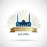 ramadan kareem groet banner. moskee in de stralen.