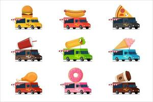 fastfood vrachtwagen set. hamburger, hotdog, pizza, drank, milkshake, shoarma kebab, ijs, gebakken kip, donut, koffie op dakcollectie.