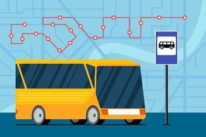 gele futuristische stadsvervoerbus op weg in de buurt van bushalte station teken op kaart met verkeersnavigatie route locatie marker positieschema. vector