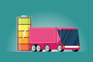 hoog elektrisch vermogen batterij opgeladen energie-indicator met bliksempictogram en roze elektrische vrachtwagen. moderne e-voertuigtechnologie en eco-transporttechnologieconcept.
