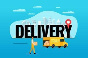 express bestelwagen bestelconcept. grote tekst met gps-pin geotag op moderne stad en mannelijke koerier met pakketdoos. vector