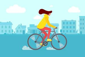 hipster vrouwelijke berijdende fiets op stadsstraat. jonge vrouw fietser vrijetijdsbesteding in de stad weg. stijlvolle meisje op fiets platte vector eps illustratie