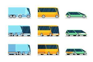 auto bus vrachtwagen zijkant voor- en achteraanzicht stijlvolle concept ontwerpset. futuristisch elektrisch hybride auto-motorvoertuig. vector
