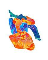 abstracte jonge atletische mannen beoefenen van vechtsporten Braziliaanse jiu-jitsu uit splash van aquarellen. traint in een traditionele kimono. bjj draaiende armsteun, juji gatame. vectorillustratie van verven vector