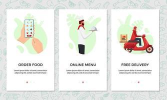 bestel voedsel online mobiele app-bannerset. kiest gerecht op smartphoneschermsjabloon. chef-kok kookte eten en expresse gratis scooterverzorging van restaurantserviceconcept.