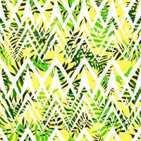 naadloze groene bladeren met wit geometrisch ornament. tropische achtergrond. print voor web, stof en inpakpapier.