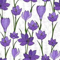 naadloze Lentebloemen. kleurrijke krokussen naadloos.