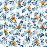 blauwe tropische bladeren en strelizia bloemen. naadloze patroon voor stof, inpakpapier en web.