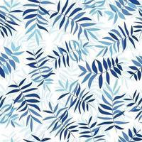 blauwe tropische bladeren. naadloze patroon voor stof, inpakpapier en web. vector