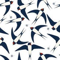 naadloze patroon met vliegende zwaluwen met paardebloem. leuke print voor stof.