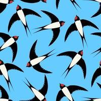 naadloze patroon met vliegende zwaluwen op blauw. leuke print voor stof.
