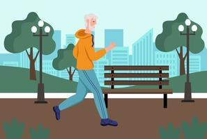een oudere man rent in het park. het concept van actieve ouderdom, sport en hardlopen. dag van de ouderen. platte cartoon vectorillustratie. vector