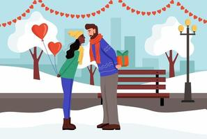 een stel wisselt cadeautjes uit en kust in een winterpark. een jonge man en een vrouw vieren Valentijnsdag. platte vectorillustratie. vector