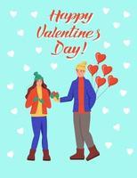wenskaart voor Valentijnsdag. het paar wisselt geschenken uit. belettering gelukkige Valentijnsdag. platte vectorillustratie.